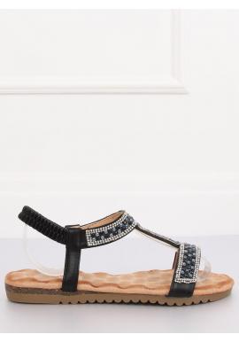 Dámske zdobené sandále v čiernej farbe