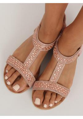 Zdobené dámske sandále ružovej farby