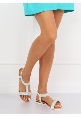 Strieborné zdobené sandále pre dámy