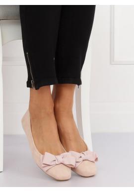 Semišové dámske balerínky béžovej farby s mašľou