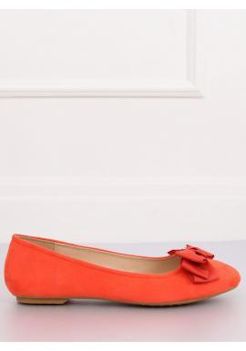 Dámske semišové balerínky s mašľou v oranžovej farbe