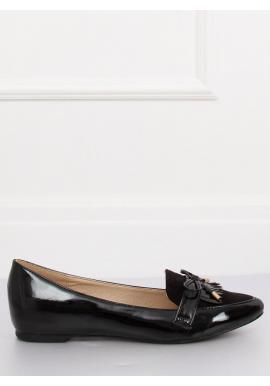 Elegantné dámske mokasíny čiernej farby s mašľou