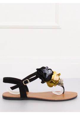 Dámske semišové sandále s kvetmi v čiernej farbe