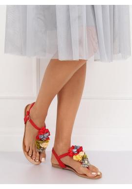 Semišové dámske sandále červenej farby s kvetmi