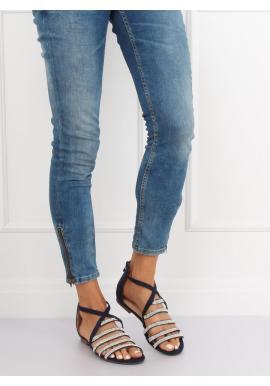 Tmavomodré módne sandále so zirkónmi pre dámy