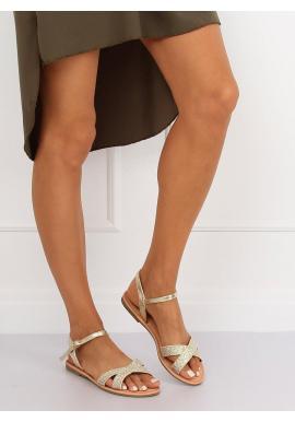 Dámske módne sandále v zlatej farbe