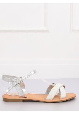 Módne dámske sandále striebornej farby