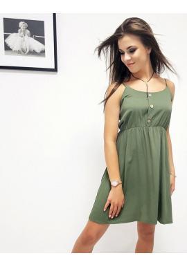 Letné dámske šaty zelenej farby na ramienka
