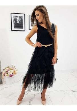 Dvojvrstvová dámska sukňa čiernej farby