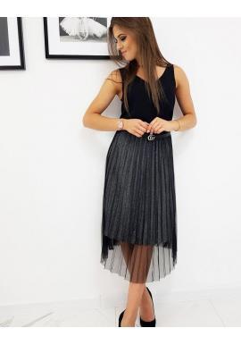 Čierna plisovaná sukňa s brokátom pre dámy