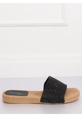 Čierne trblietavé šľapky pre dámy