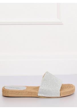 Dámske trblietavé šľapky v striebornej farbe