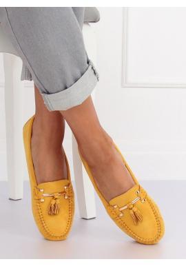 Dámske semišové mokasíny s aplikáciou v žltej farbe