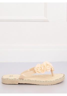 Béžové gumené žabky s kvetmi pre dámy
