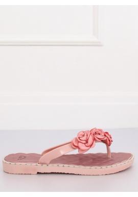 Gumené dámske žabky ružovej farby s kvetmi