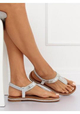 Štýlové dámske sandále striebornej farby s kamienkami