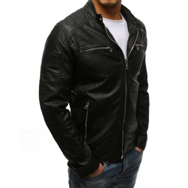Kožená bunda čiernej farby so zapínaním na zips