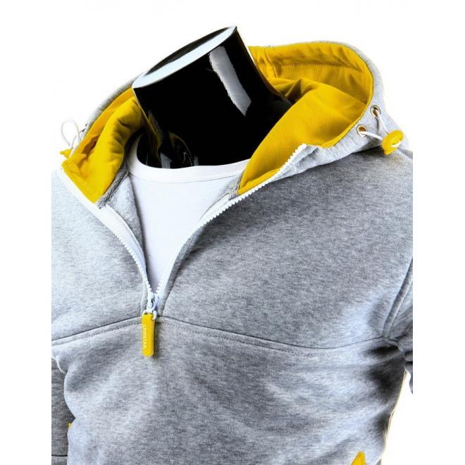 Sivá mikina v dvojvrstvovou žltou kapucňou pre pánov