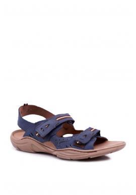 Tmavomodré kožené sandále pre pánov