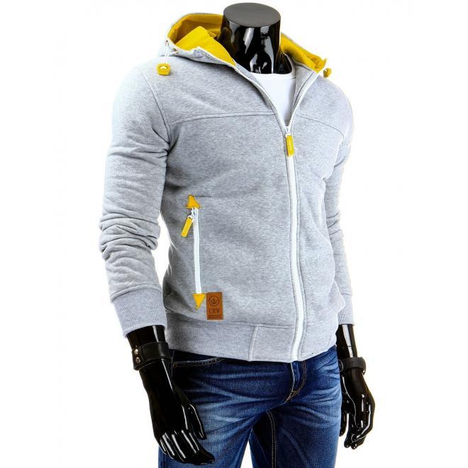 Sivá mikina na zips s dvojvrstvovou žltou kapucňou pre pánov