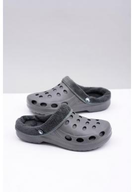 Sivé oteplené šľapky kroksy pre pánov