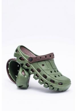 Záhradné pánske šľapky kroksy zelenej farby