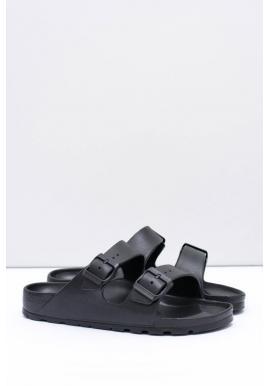 Čierne ľahké šľapky s regulovateľnými pásmi pre pánov
