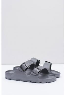Pánske ľahké šľapky s regulovateľnými pásmi v sivej farbe