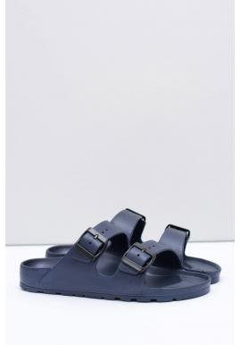 Ľahké pánske šľapky tmavomodrej farby s regulovateľnými pásmi