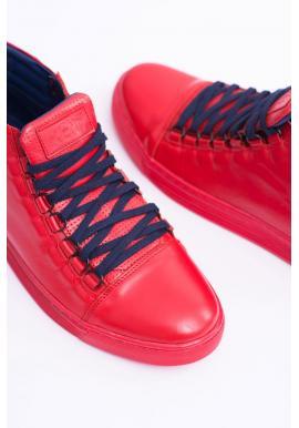 Kožené pánske tenisky červenej farby