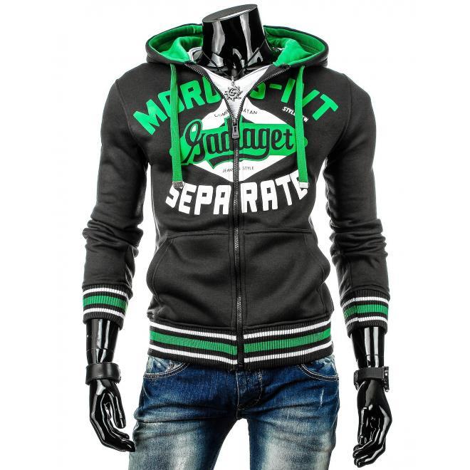 Mikina v tmavosivej farbe s potlačou a zelenými prvkami