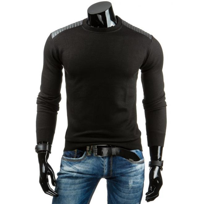 Sveter pre pánov v čiernej farbe s aplikáciami z ekokože