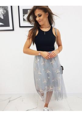 Svetlosivá trojvrstvová sukňa s ozdobami pre dámy