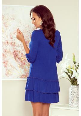 Modré pohodlné šaty s volánmi pre dámy