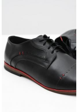 Pánske elegantné kožené poltopánky v čiernej farbe