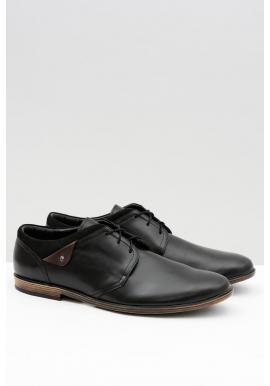 Čierne kožené poltopánky pre pánov