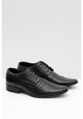 Čierne spoločenské kožené poltopánky pre pánov