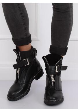 Čierne vojenské topánky so strieborným zipsom pre dámy