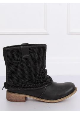 Dámske módne topánky s korálkami v čiernej farbe