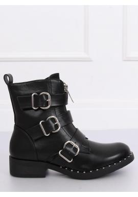 Vojenské dámske topánky čiernej farby s prackami