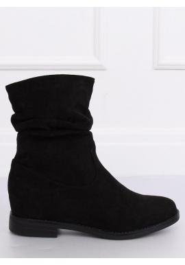 Semišové dámske topánky čiernej farby na skrytom opätku