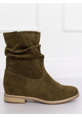 Dámske semišové topánky na skrytom opätku v zelenej farbe