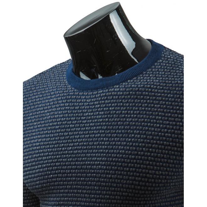 Bavlnený pánsky sveter v tmavomodrej farbe
