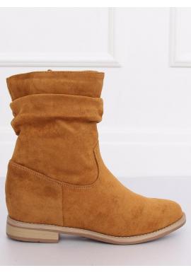 Semišové dámske topánky hnedej farby na skrytom opätku