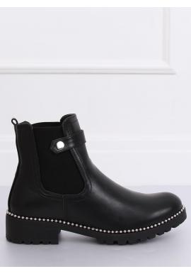 Čierne módne topánky so striebornými korálkami pre dámy
