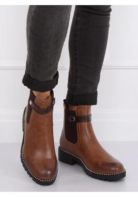 Dámske módne topánky so striebornými korálkami v hnedej farbe