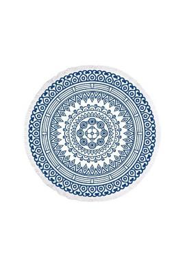 Modrý okrúhly ručník na pláž s motívom mandaly