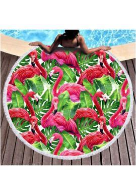 Okrúhly plážový ručník s motívom plameniakov