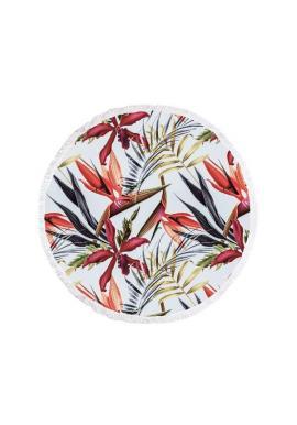 Okrúhly plážový ručník bielej farby s motívom kvetov
