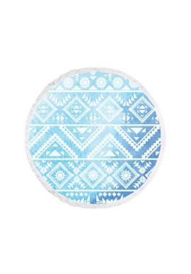 Okrúhly plážový ručník modro-bielej farby s geometrickými vzormi